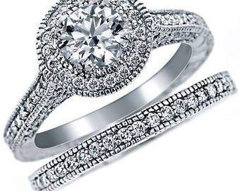 Real Diamond Engagement Ring Wedding Band Set Round 14k Gold 1