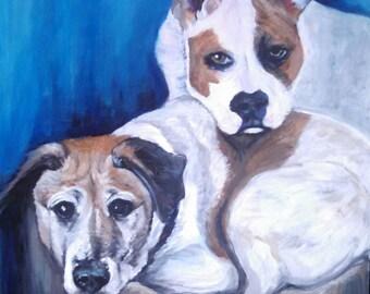 Handmade Custom Acrylic Painted Dog Portrait