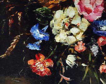 Beautiful flower bouquet in vase, Oil on Panel by Verly. Stunning work of art!!