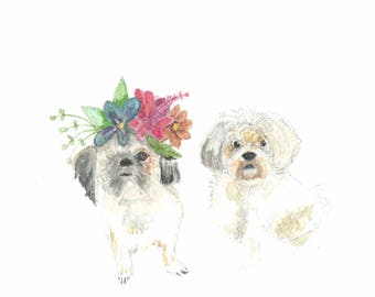 A5 custom dog portrait commission of two dogs.  Just send me a photo of your dogs and I'll paint them