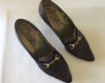 Vintage Saks Fifth Ave Croc Heels