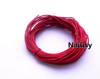 10 mètres de fil en coton ciré rouge  REF594