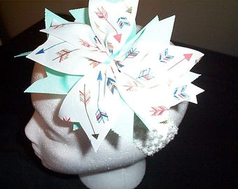 Arrows and Seafoam Green Bow Headband Infants Toddlers
