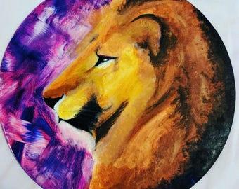 Purple Lion, Acrylic Painting