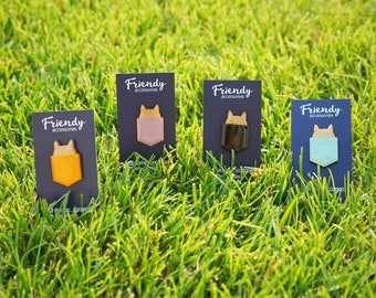 Wooden Fashionable Pins Accessories – Handmade Brooches – 5 Designs Including Cat Pin