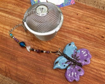 Butterfly Large Tea Infuser, Handmade Porcelain Clay Tea Infuser