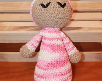 Sleeping Baby, Hand Crocheted, Tan, Pink and White