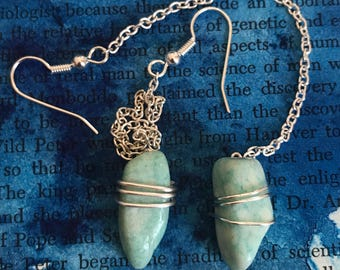 Tumbled Amazonite and Silver Chain Earrings