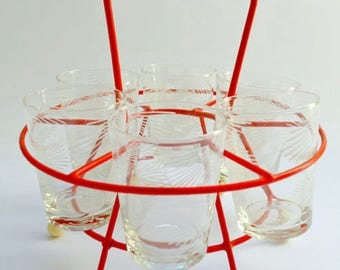 Vintage shot glasses with retro stand in red