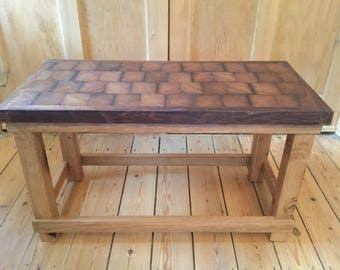 Lovely butcher block coffee table .