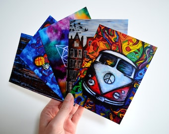 Original artwork bohemian style travel card hippie decor set of 5 cards nice art postcard set cool gift for her birthday best friend cards