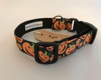 Pumpkin Dog Collar, Halloween Dog Collar, Dog Collar