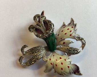 Stunning 1950's vintage Orchid Brooch
