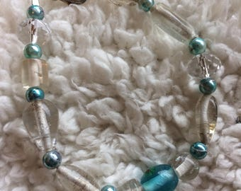 Clear and blue glass bracelet
