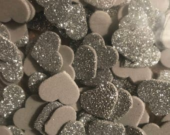 Decorative Hand-Punched Silver Glitter Foam Hearts