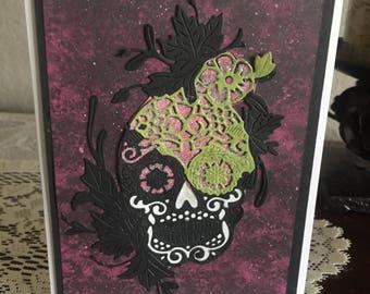 Day of the Dead, Dia de Muertos, Happy Halloween, handmade card, beautiful die cut, intricate die, colorful black, green, pink, glitter