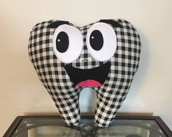 Black and White Checked Tooth Fairy Pillow