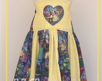 Stained Glass Princess Belle & Prince Dress - fits aprox 4/5 4T 5T - Birthday Party - Twirl