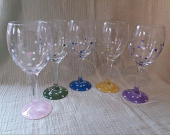 Hand painted polka dot wine glasses