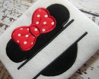 Applique Split Minnie machine embroidery instant download design, appliqué  mouse ears , split embroidery design, monogram design