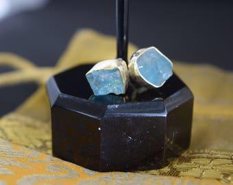 Aquamarine Natural Stone Stud Earrings