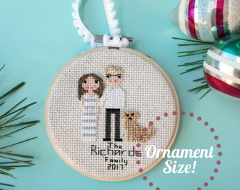 Cross Stitch Family Portrait. Xmas Ornament . Gift for Her. Statement Wife Gift . Personalized gift 2nd anniversary cotton anniversary gift