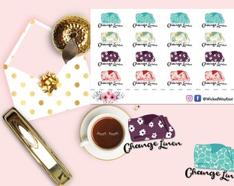 House Chores Reminder Stickers, Chores Planner Sticker, Change Linen Reminder Stickers, Scrapbook Sticker, Planner Accessory - 16 Stickers
