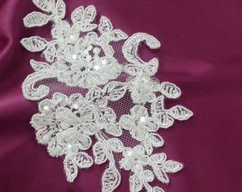 Ivory Lace applique, Beaded lace applique, French Chantilly lace applique, 3D lace, bridal lace applique M0015
