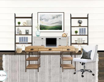 Home Design-Rustic Office-Home Office Design-Design Board-E-Design-Interior Decorating