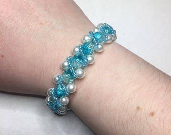 Wintry Blue and White Embellished Beaded Bracelet