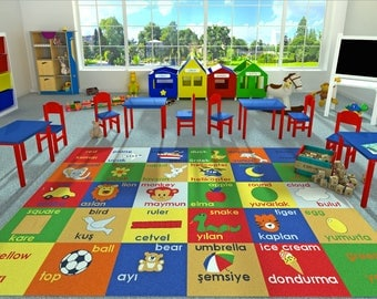 Adgo Kids Collection Naivy Blue Frame With Multi Colors Kids Childrenu0027s Educational  Rugs  Non