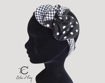 Headband black and white gingham/dots