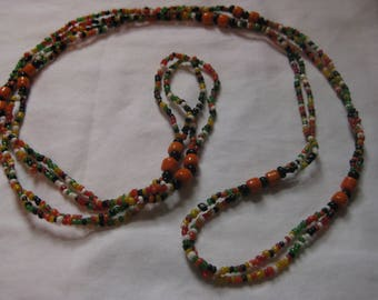 Colorful  seed Beaded long  necklace
