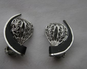 Classy Black and Silver Clip On Earrings