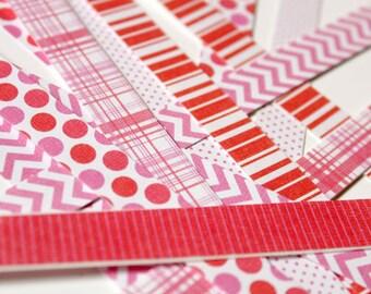 SAVE 15% - Sticker Strip PINK BUNDLE : 10 regular washi tape strips + 10 mini washi tape strips + 4 jumbo washi tape strips
