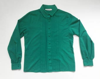 Vintage Teal - Josephine - 90s Polyester Pleated Long Sleeve Button Up