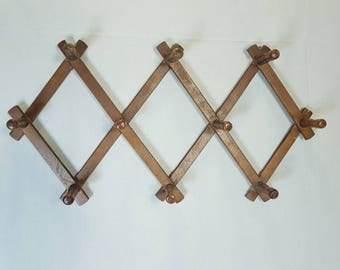 Wooden coat hanger, Vintage hanger, Wall hanger, Primitive hanger, Coat hanger, Brown hanger, Old wooden hanger, Accordion wooden hanger
