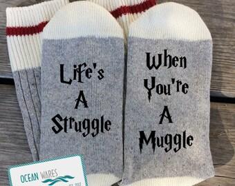 SUPER SOFT Novelty Word Socks, muggle, struggle, Harry Potter, gift, Funny Socks, Word socks, novelty socks, personalized