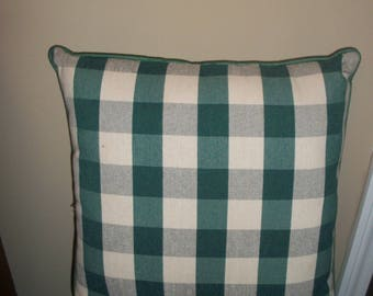 Green and White Checkered Pillow