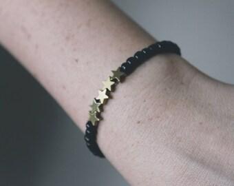 Black and Gold Star Beaded Bracelet
