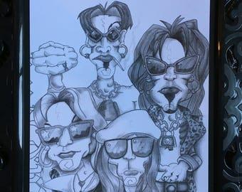 Motley Crue caricature print