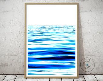Modern Ocean Print   Ocean Art   Ocean Wall Decor   Blue Sea Art   Printable Digital Download   Beach Sea Print   Beach Decor   Modern Print