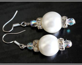Earrings evening white and transparent