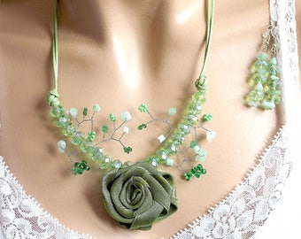 Green rose set romantic plant branch.