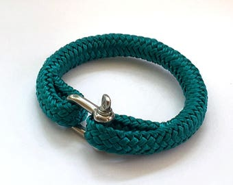 Men's green nautical rope bracelet with stainless steel shackle 8mm