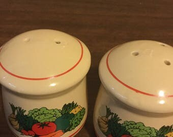 White Salt and Pepper Shakers with Vegetables