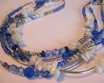 Blue necklace 5 rows
