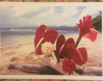Exotic Flowers on Beach