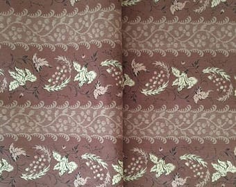 Reproduction 1830s Fabric, Historic Costume Fabric, The Presidents Collection, Brown/Tan Floral Print Fabric, Romanticism Costume Fabric