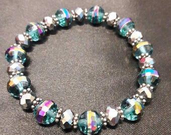 Colorful blue bead stretch bracelet
